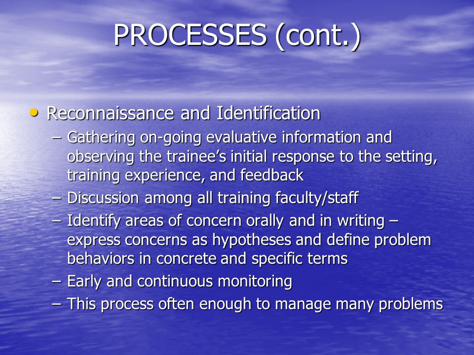 PROCESSES (cont.) Reconnaissance and Identification Reconnaissance and Identification –Gathering on-going evaluative information and observing the tra