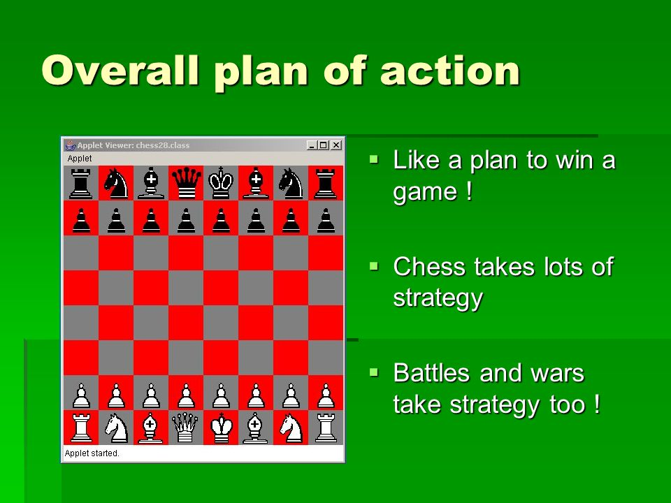 Overall plan of action  Like a plan to win a game !  Chess takes lots of strategy  Battles and wars take strategy too !