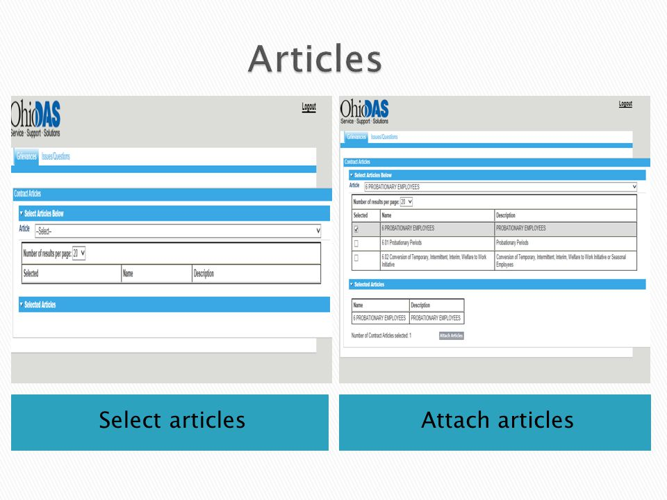 Select articlesAttach articles