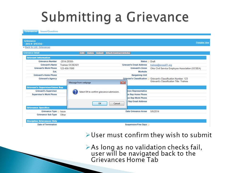  User must confirm they wish to submit  As long as no validation checks fail, user will be navigated back to the Grievances Home Tab