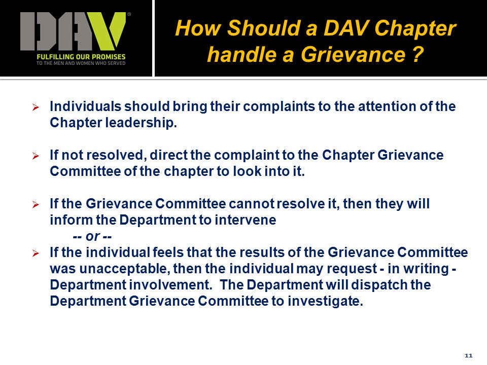 11  Individuals should bring their complaints to the attention of the Chapter leadership.