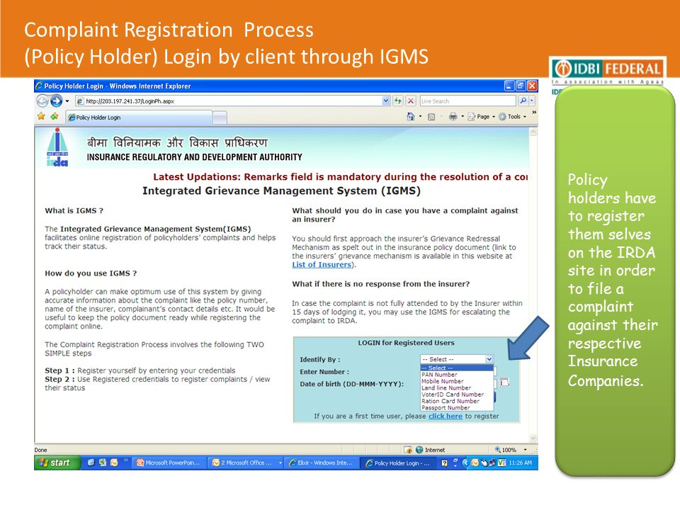Complaint Registration Process (Policy Holder) Login by client through IGMS