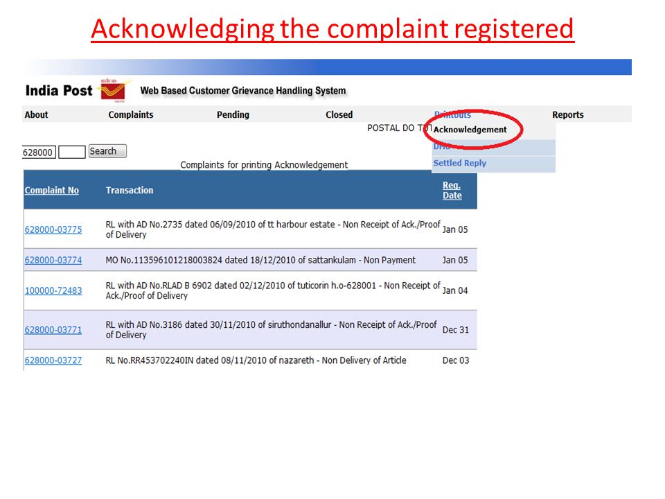 Acknowledging the complaint registered