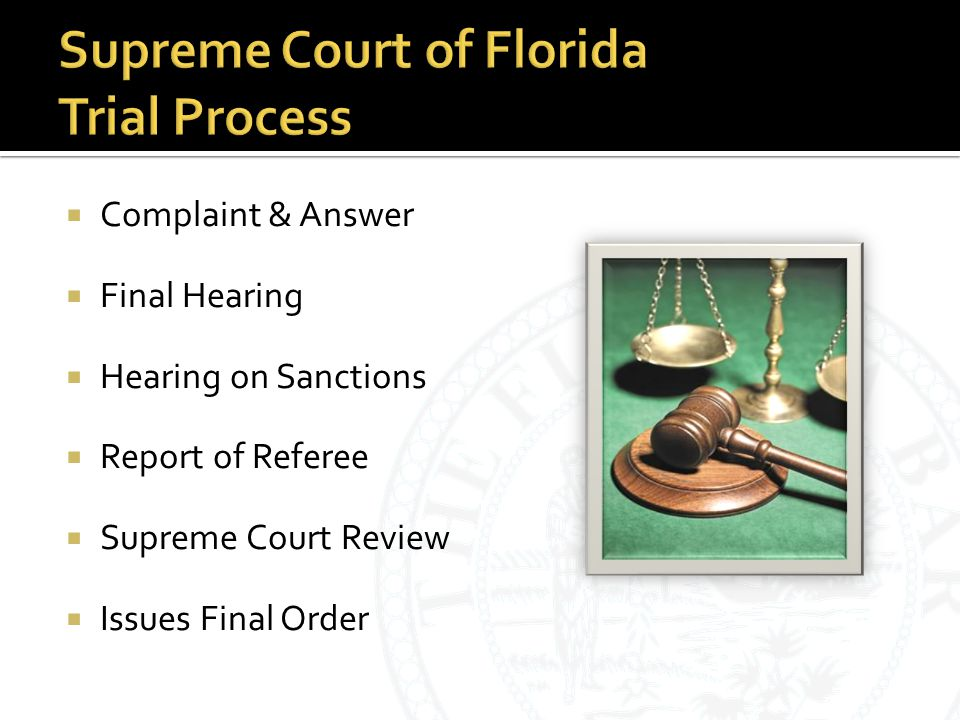  Complaint & Answer  Final Hearing  Hearing on Sanctions  Report of Referee  Supreme Court Review  Issues Final Order