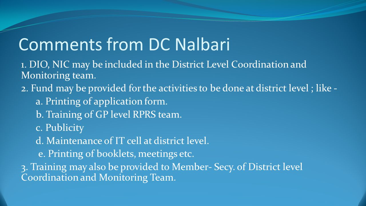 Comments from DC Nalbari 1.