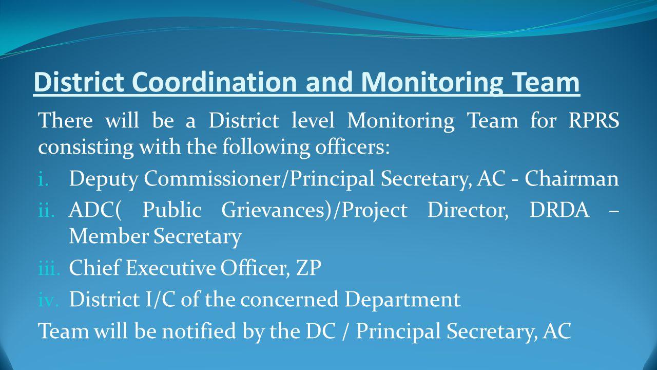 Documentation D.C./ Principal Secretary will arrange proper documentation of the RPRS exercise.