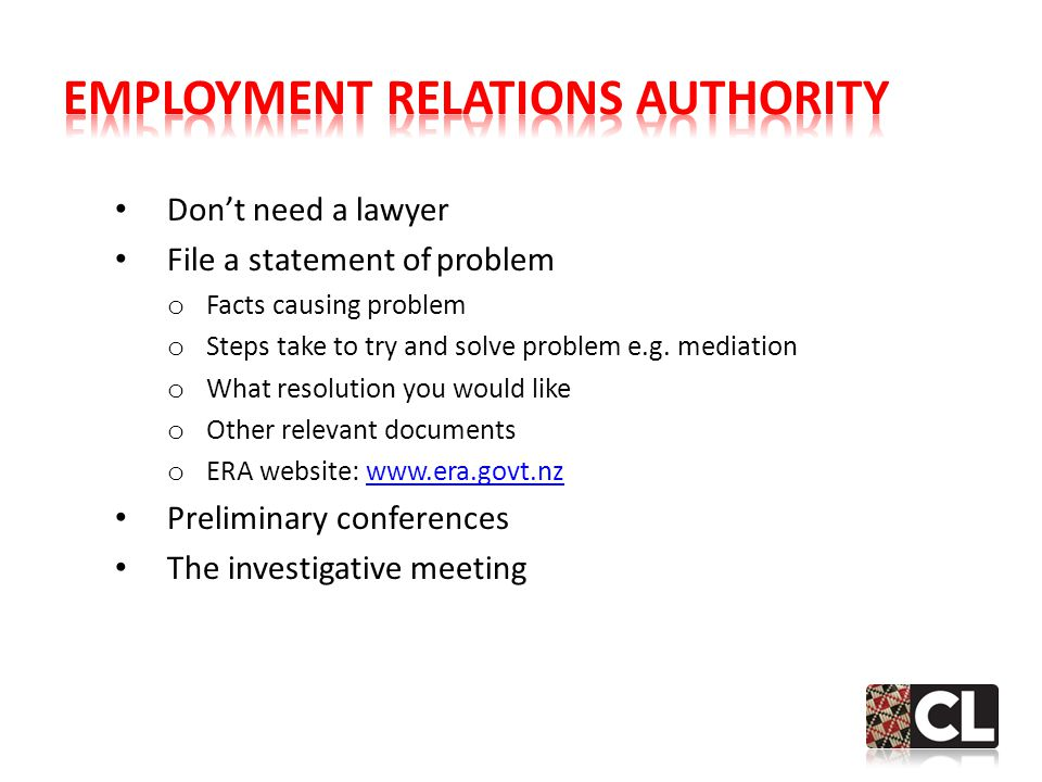 Don't need a lawyer File a statement of problem o Facts causing problem o Steps take to try and solve problem e.g.