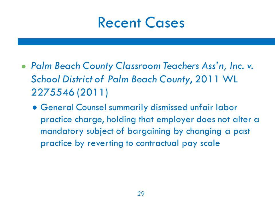 29 Recent Cases Palm Beach County Classroom Teachers Ass'n, Inc.