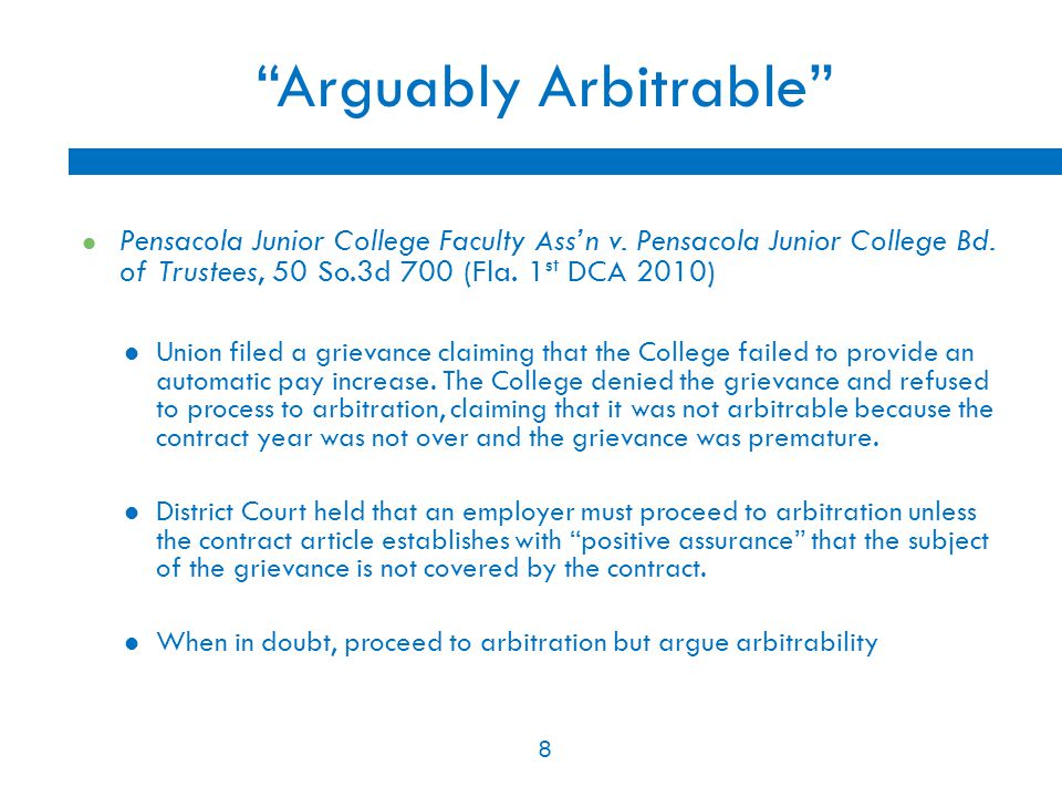 9 Deferral PERC has preemptive authority to investigate and resolve charges of unfair labor practices If a Union's grievance is really arguing that the employer committed an unfair labor practice, the issue must be decided by PERC unless PERC defers jurisdiction to an arbitrator If Union raises at Arbitration, raise issue of deferral in brief Communications Workers of America v.