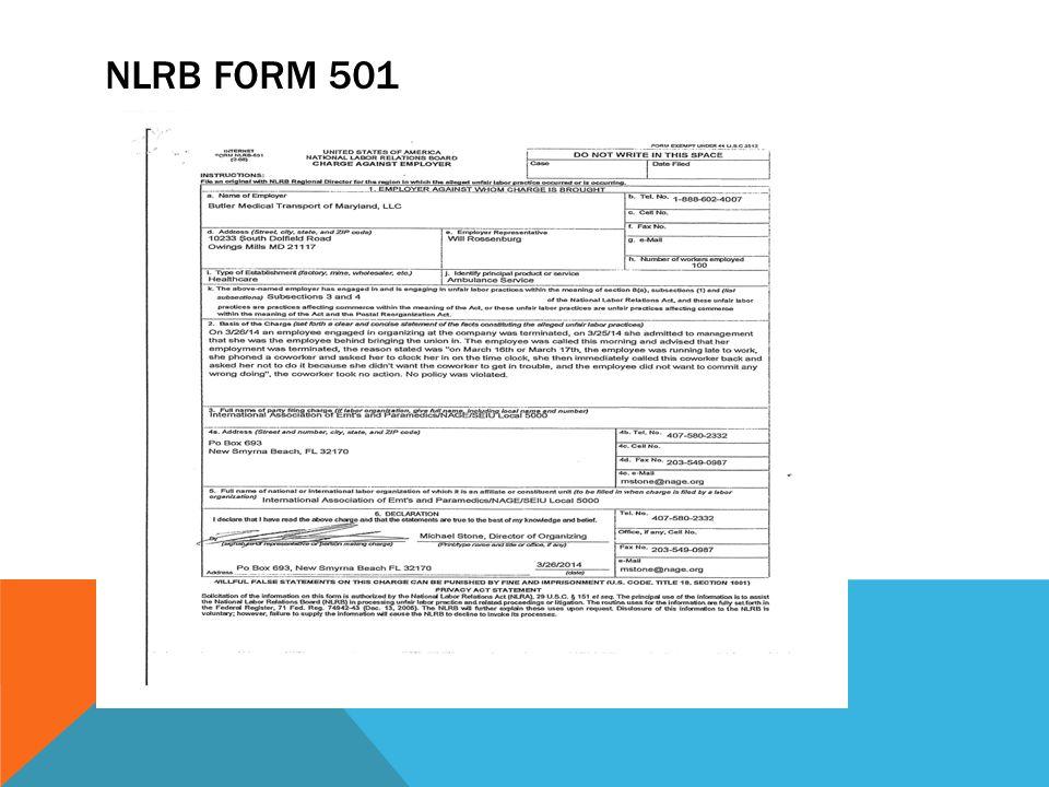 NLRB FORM 501