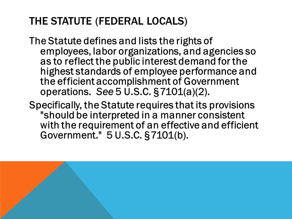 THE STATUTE (FEDERAL LOCALS) The Statute defines and lists the rights of employees, labor organizations, and agencies so as to reflect the public inte