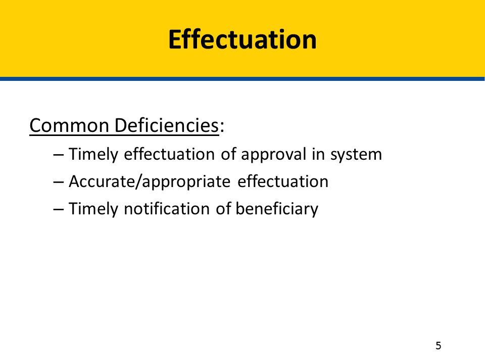 Effectuation Common Deficiencies: – Timely effectuation of approval in system – Accurate/appropriate effectuation – Timely notification of beneficiary 5