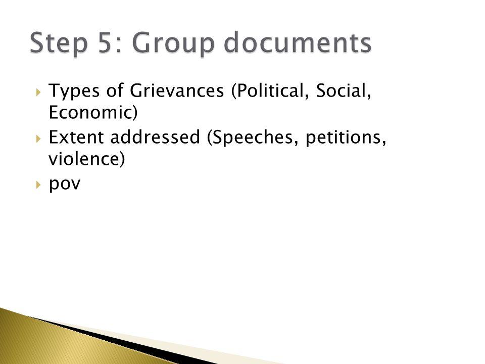  Types of Grievances (Political, Social, Economic)  Extent addressed (Speeches, petitions, violence)  pov