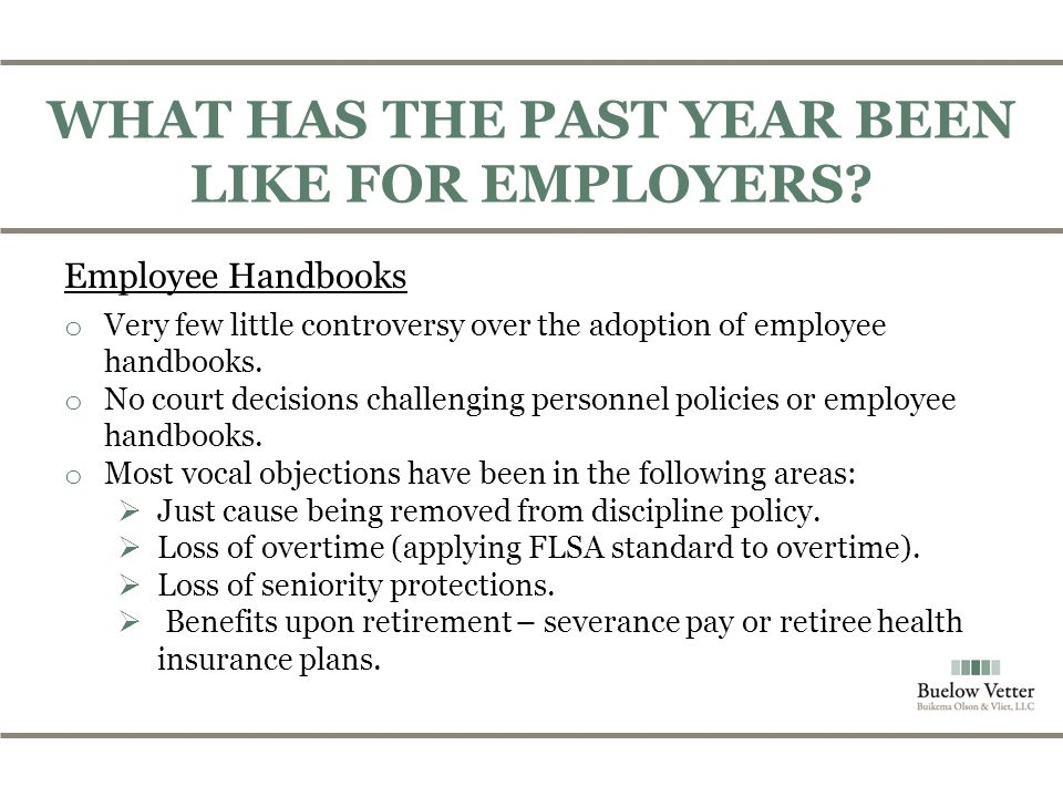 WHAT HAS THE PAST YEAR BEEN LIKE FOR EMPLOYERS.