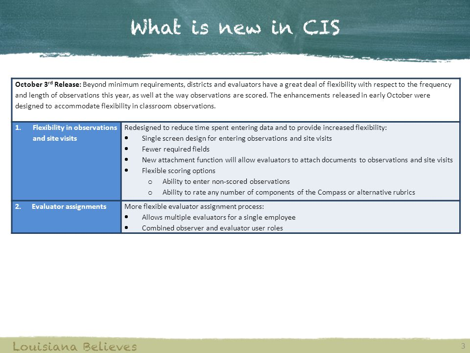 What is new in CIS 3 Louisiana Believes October 3 rd Release: Beyond minimum requirements, districts and evaluators have a great deal of flexibility with respect to the frequency and length of observations this year, as well at the way observations are scored.