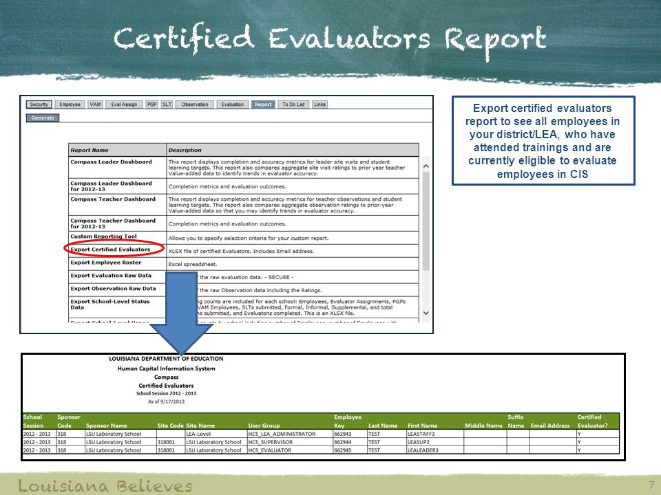 Certified Evaluators Report 7 Louisiana Believes Export certified evaluators report to see all employees in your district/LEA, who have attended trainings and are currently eligible to evaluate employees in CIS