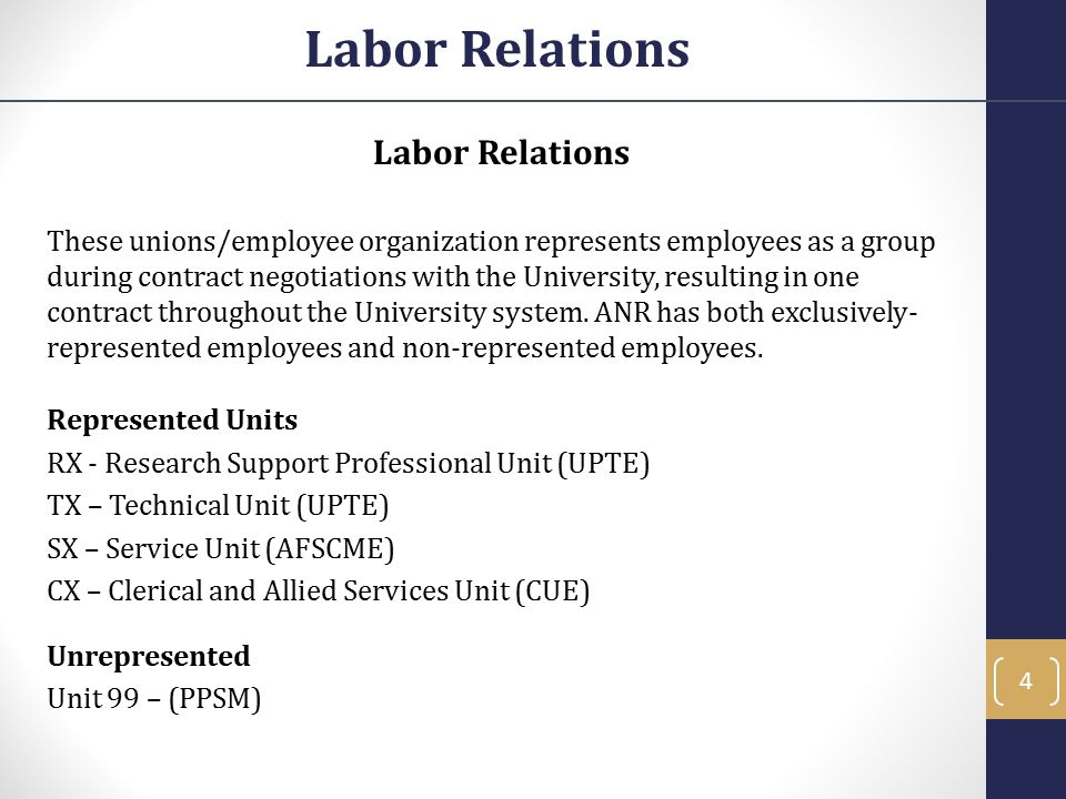 These unions/employee organization represents employees as a group during contract negotiations with the University, resulting in one contract through