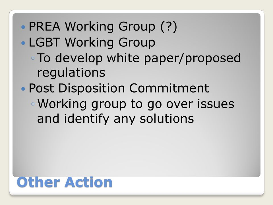Other Action PREA Working Group (?) LGBT Working Group ◦To develop white paper/proposed regulations Post Disposition Commitment ◦Working group to go o