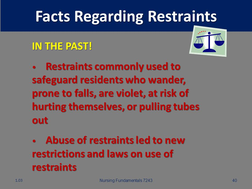 Nursing Fundamentals 724339 Facts Regarding Restraints 1.03 Restraint: Any manual method, physical or mechanical device, material, or equipment attach