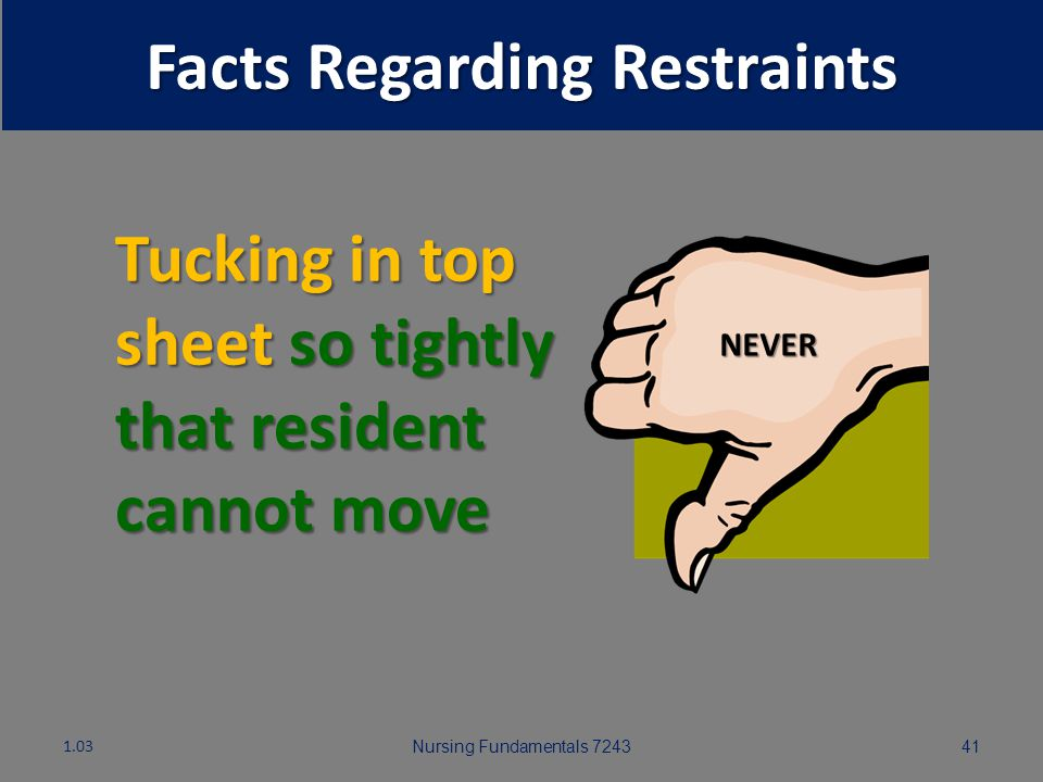 Nursing Fundamentals 724340 Facts Regarding Restraints IN THE PAST! Restraints commonly used to safeguard residents who wander, prone to falls, are vi