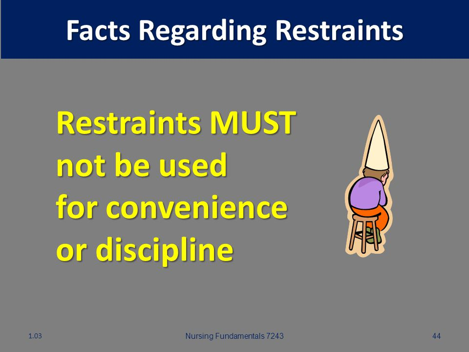 Nursing Fundamentals 724343 Facts Regarding Restraints 1.03 Pulling up full side rails to prevent patient from voluntarily getting out of bed