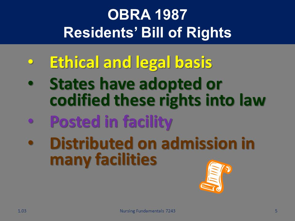 Nursing Fundamentals 7243 4 Basic Human Rights Behaviors that infringe on human rights: addressing residents as children addressing residents as child
