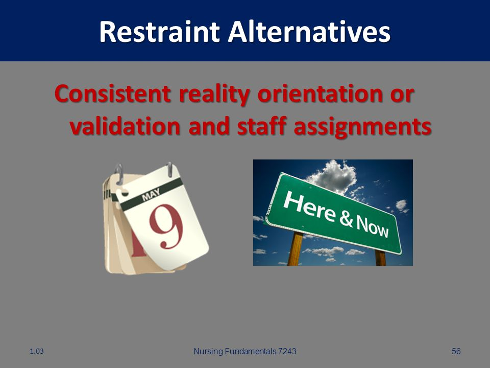 Nursing Fundamentals 724355 Restraint Alternatives Exercise and outdoor activities 1.03