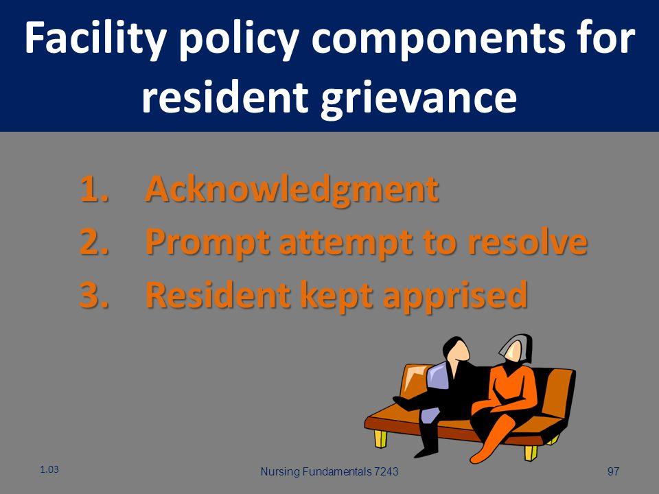 Nursing Fundamentals 724396 Resident Right to Voice Grievances 1.03 Regarding services furnished Regarding services furnished Regarding services not f