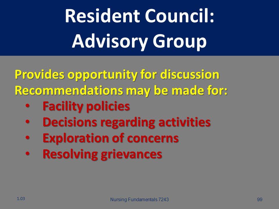 Nursing Fundamentals 724398 Resident Council: Advisory Group 1.03
