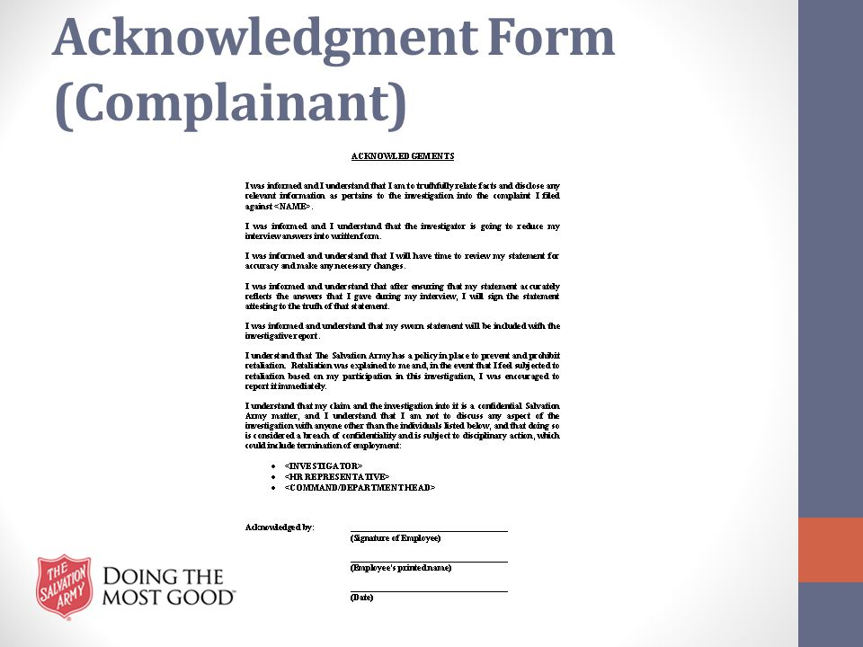 Acknowledgment Form (Complainant)