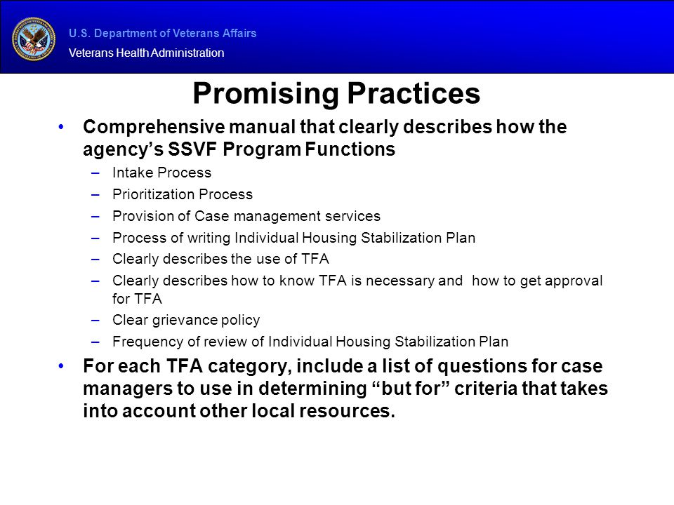 U.S. Department of Veterans Affairs Veterans Health Administration Promising Practices Comprehensive manual that clearly describes how the agency's SS