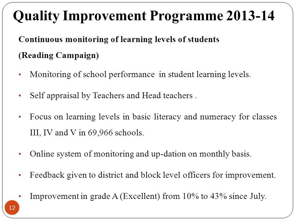 12 Continuous monitoring of learning levels of students (Reading Campaign) Monitoring of school performance in student learning levels.