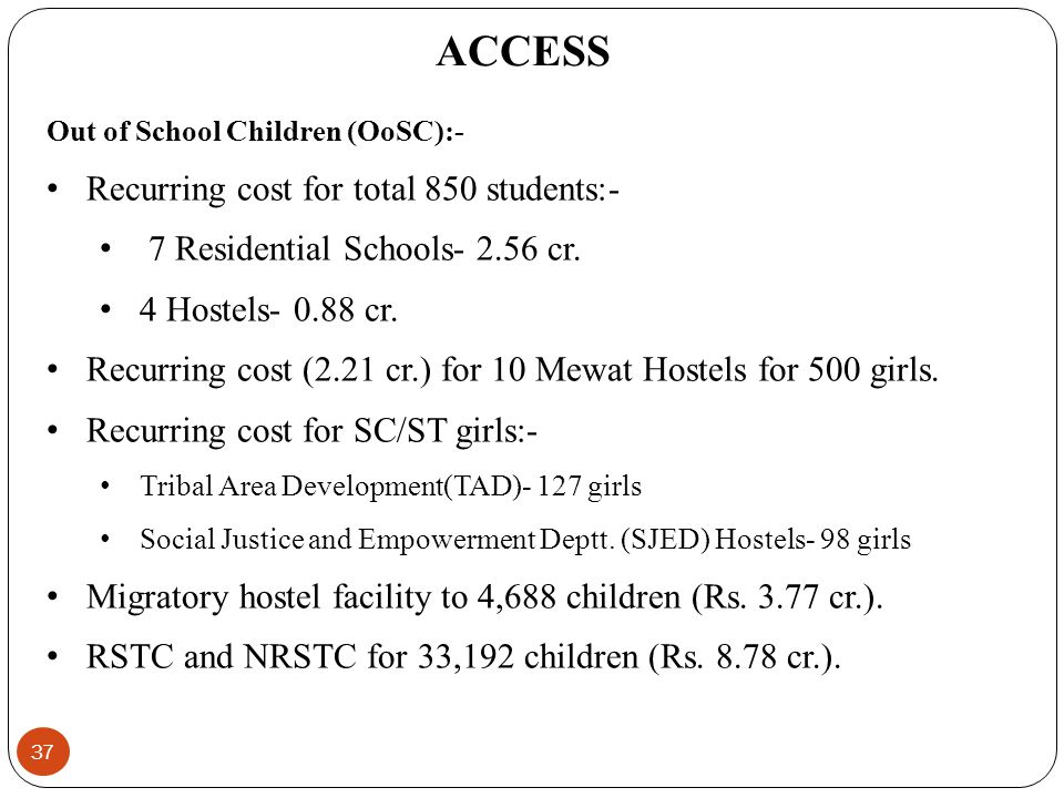 Out of School Children (OoSC):- Recurring cost for total 850 students:- 7 Residential Schools- 2.56 cr.