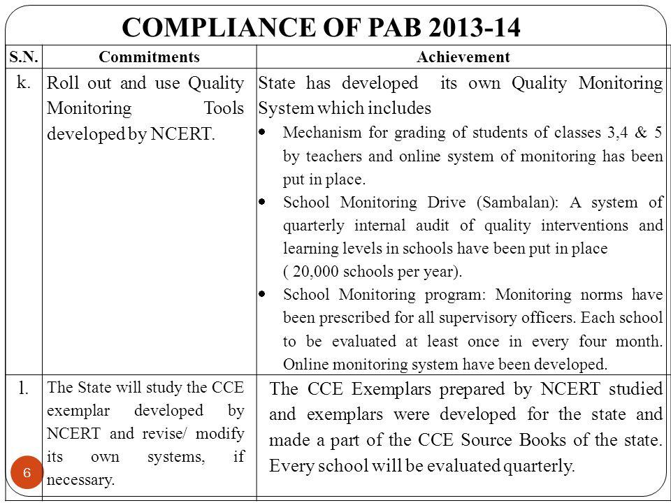 6 COMPLIANCE OF PAB 2013-14 S.N.CommitmentsAchievement k.