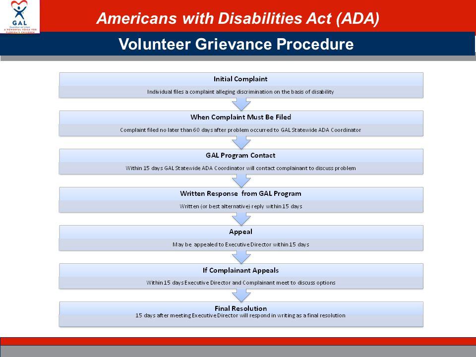 Americans with Disabilities Act (ADA) Volunteer Grievance Procedure