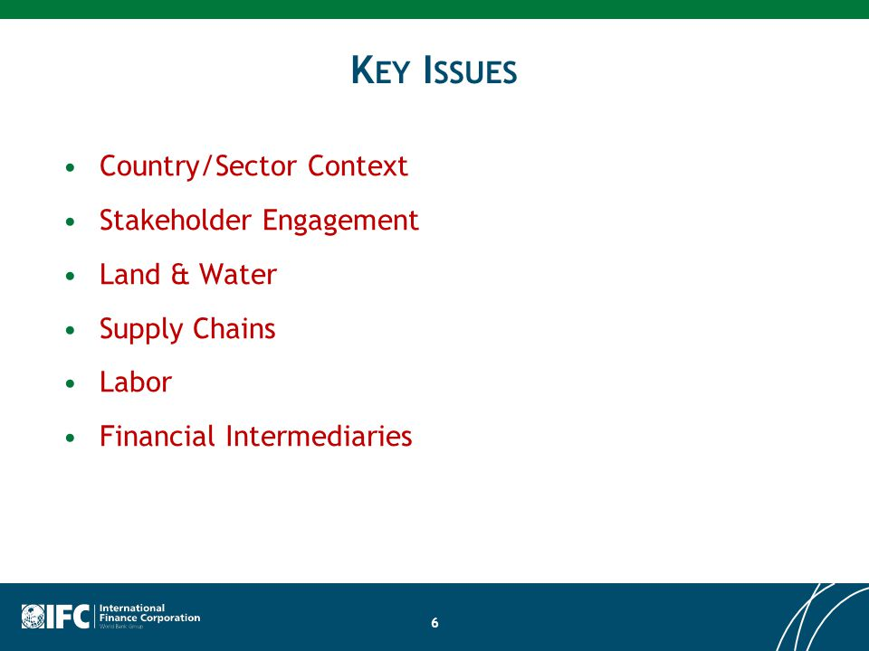 K EY I SSUES Country/Sector Context Stakeholder Engagement Land & Water Supply Chains Labor Financial Intermediaries 6