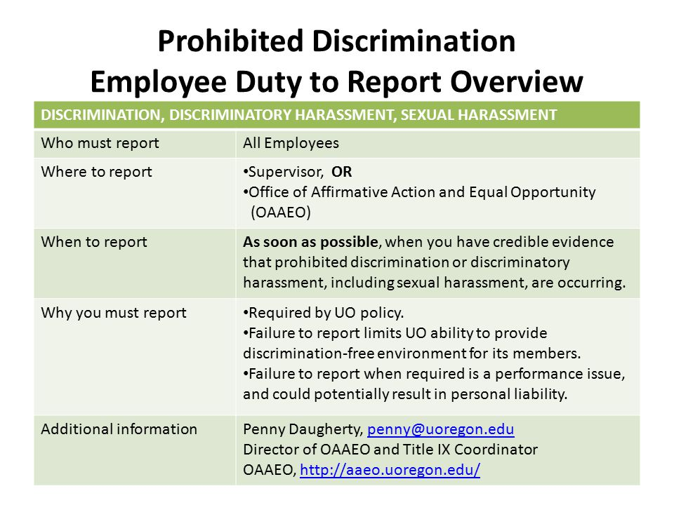 Prohibited Discrimination Employee Duty to Report Overview DISCRIMINATION, DISCRIMINATORY HARASSMENT, SEXUAL HARASSMENT Who must reportAll Employees W