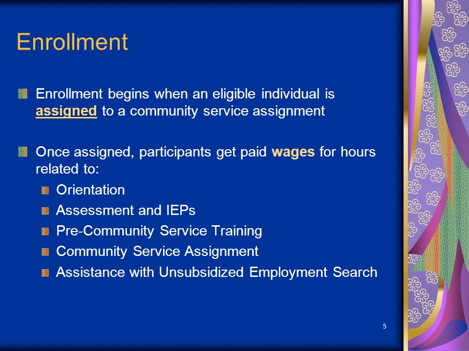 16 Participant Reassignment or Rotation Rotation of Community Service Assignment must be based on the participant's IEP: Greater opportunity for use of participant's skills and aptitudes Provides work experience or training that will enhance unsubsidized placement potential Participants should be considered for rotation to new training assignment if they have completed their site training and are not being considered for hire