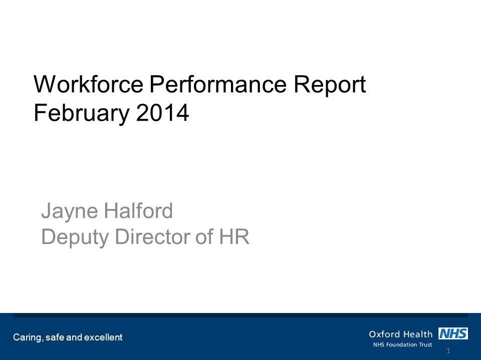 Workforce Performance Report February 2014 Jayne Halford Deputy Director of HR Caring, safe and excellent 1