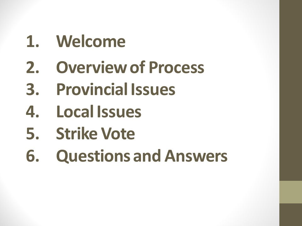 1.Welcome 2.Overview of Process 3.Provincial Issues 4.Local Issues 5.Strike Vote 6.Questions and Answers