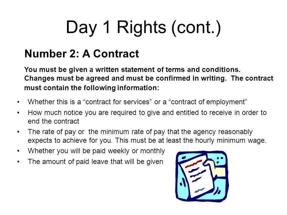 Day 1 Rights (cont.) Number 3: Holiday Pay As per a recent EU directive, agency workers are entitled to 5.6 weeks paid leave, just the same as any other employee.