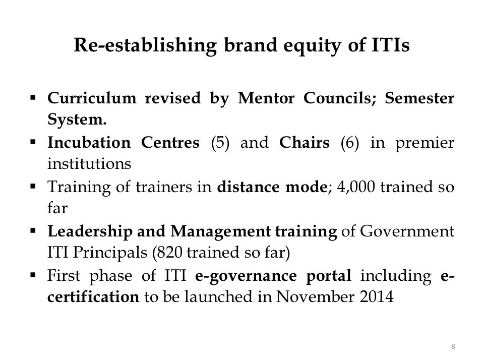 Demand Responsive Vocational Training  Flexible MoUs for running industry-driven courses in ITIs  Developing Model ITIs in prominent industry clusters  Mentor Councils in 25 economic sectors with representatives from industry.