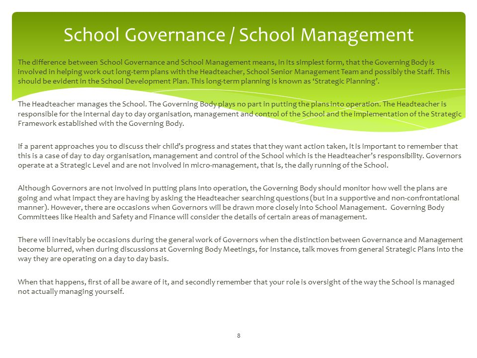 Effective monitoring and evaluation provides constructive and supportive challenge to the Headteacher and the School leadership/management team and also helps Governors fulfil their role of accountability to all School stakeholders for what the School does.