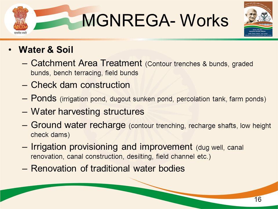 Water & Soil –Catchment Area Treatment (Contour trenches & bunds, graded bunds, bench terracing, field bunds –Check dam construction –Ponds (irrigatio