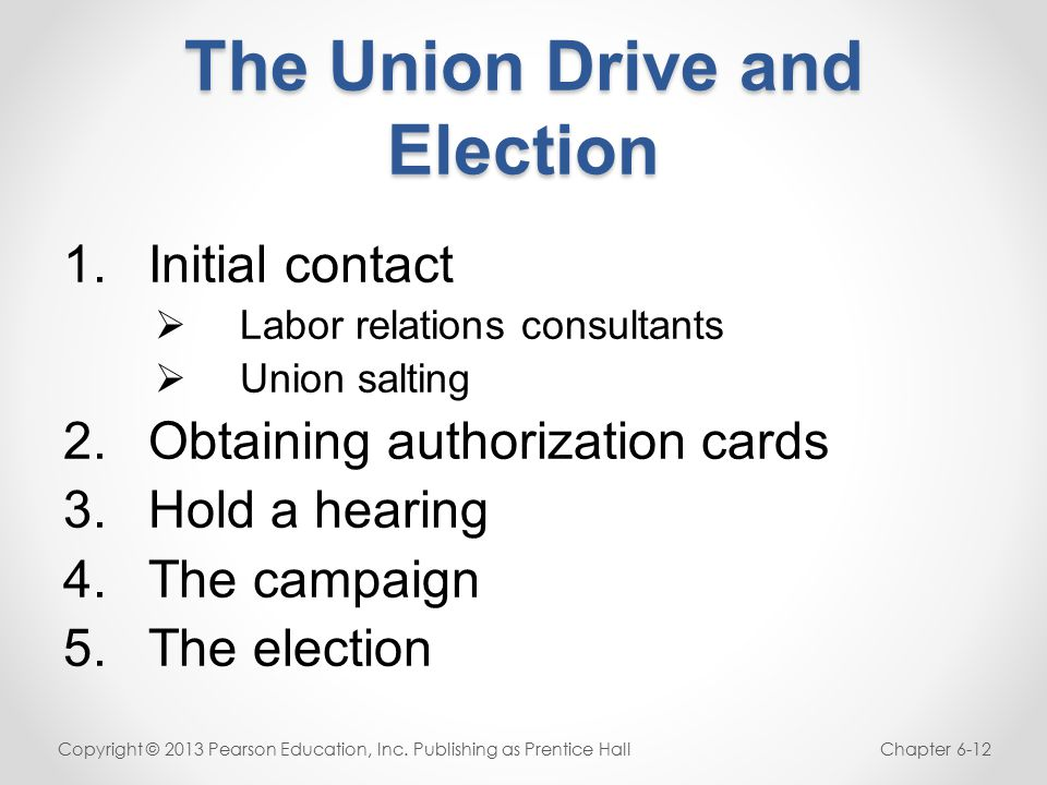The Union Drive and Election 1.Initial contact  Labor relations consultants  Union salting 2.Obtaining authorization cards 3.Hold a hearing 4.The campaign 5.The election Copyright © 2013 Pearson Education, Inc.