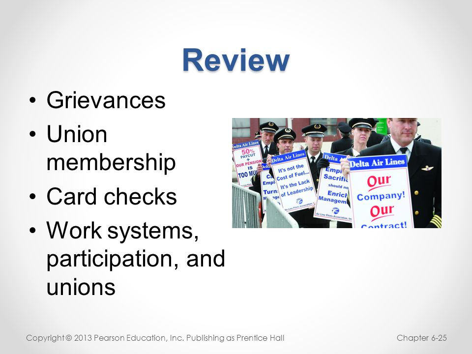 Review Grievances Union membership Card checks Work systems, participation, and unions Copyright © 2013 Pearson Education, Inc.
