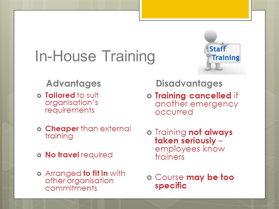 In-House Training Advantages  Tailored to suit organisation's requirements  Cheaper than external training  No travel required  Arranged to fit in