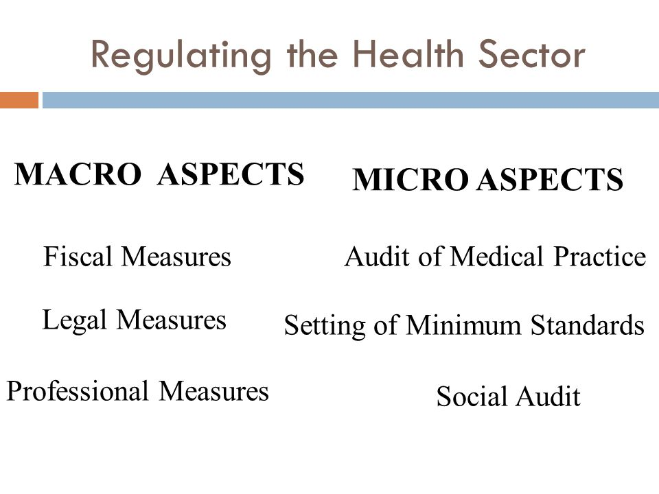 Regulating the Health Sector MACRO ASPECTS Fiscal Measures Legal Measures Professional Measures MICRO ASPECTS Audit of Medical Practice Setting of Minimum Standards Social Audit