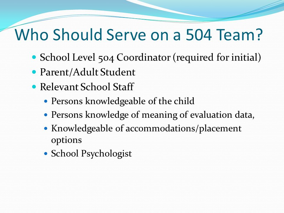 Who Should Serve on a 504 Team.
