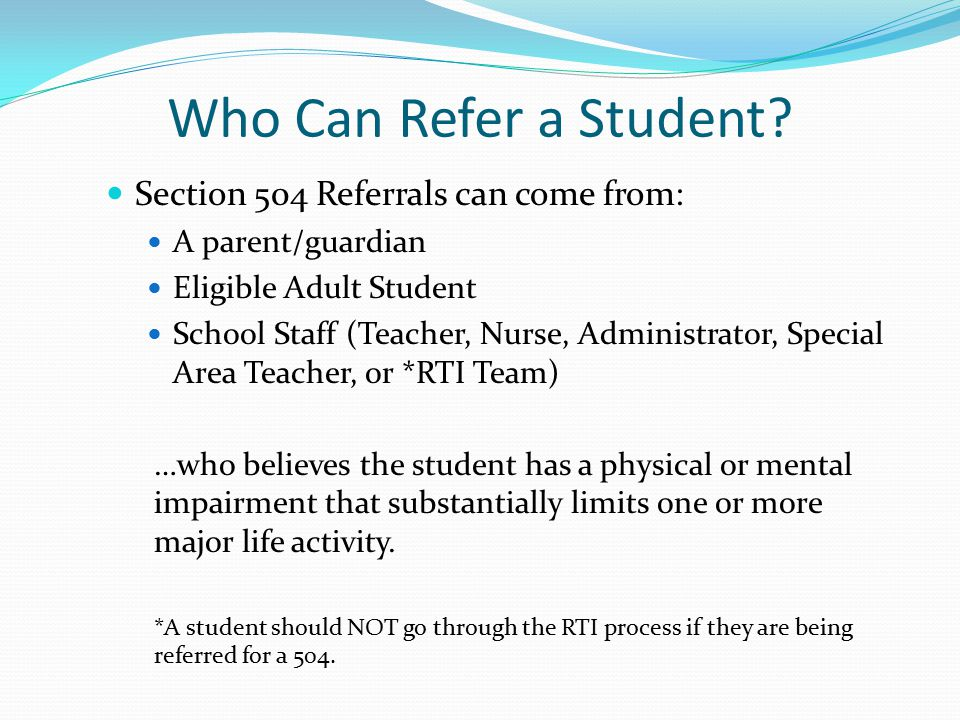 Who Can Refer a Student.